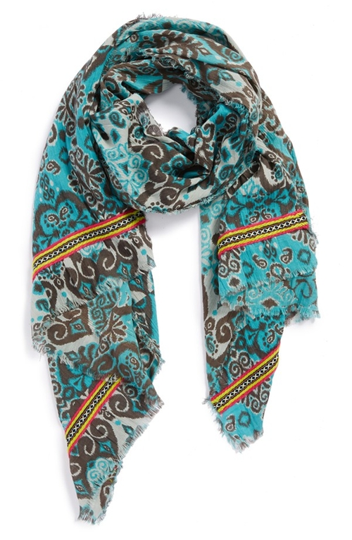 Ikat Print Scarf by Hinge in Fifty Shades of Grey