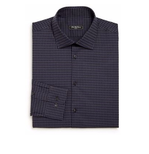Regular-Fit Checked Cotton Dress Shirt by Saks Fifth Avenue Collection in The Boss