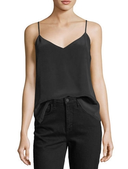 Jane V-Neck Spaghetti-Strap Silk Tank Top by L'Agence in Pitch Perfect 3