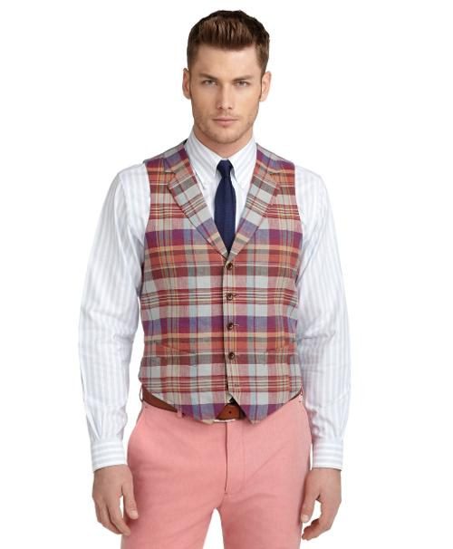Linen Tartan Vest by Brooks Brothers in Blended