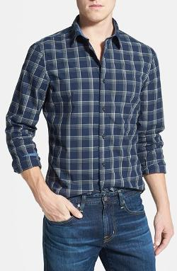 'Signature' Trim Fit Plaid Sport Shirt by Wallin & Bros. in Interstellar