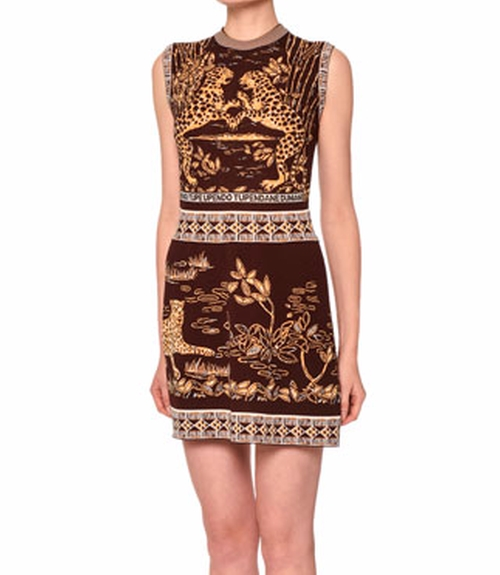 Jaguar-Print Sheath Dress by Valentino in Unbreakable Kimmy Schmidt - Season 2 Episode 13