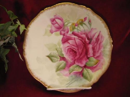 Antique Hand Painted TEA ROSES Limoges France Porcelain Plate by Old Beginnings Antiques in The Great Gatsby