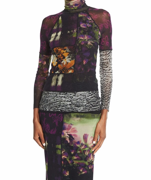 Mixed-Print Long-Sleeve Turtleneck Top by Fuzzi in The Good Fight - Season 1 Episode 2
