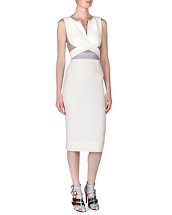 Betley Mesh-Inset Crisscross Midi Dress by Roland Mouret in Empire