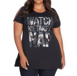 Watch Me Take A Nap Graphic Wing Split Shoulder T-Shirt by Rebel Wilson in Pitch Perfect 3