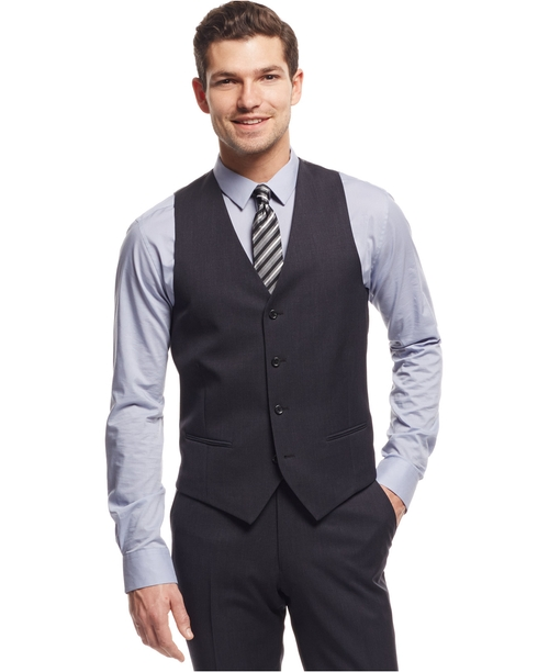 Traveler Solid Slim-Fit Vest by Alfani Red in American Ultra