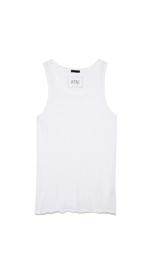 Destroyed Wash Slub Jersey Tank Top by ATM Anthony Thomas Melillo in Ride Along