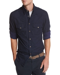 Flannel Western-Style Button-Down Shirt by Brunello Cucinelli in The Flash