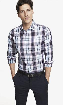 Non-Iron Fitted Plaid Shirt by Express in Neighbors