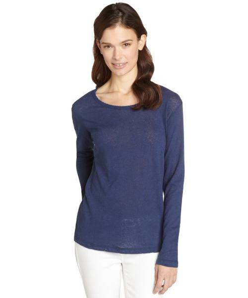 Linen Blend Distressed Long Sleeve Shirt by LNA in The Other Woman
