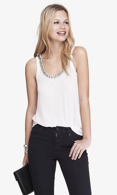 Necklace Trim Racerback Tank Top by Express in Rosewood - Season 1 Episode 3