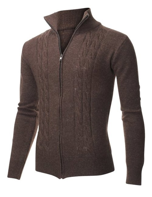 Casual Cable Knit Full-Zip Up Sweater by Flatseven in The Devil Wears Prada