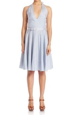 Stripe Silk Fit-&-Flare Dress by Polo Ralph Lauren in Mistresses