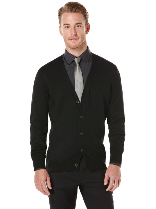 Solid Button Front Cardigan by Perry Ellis in Paper Towns