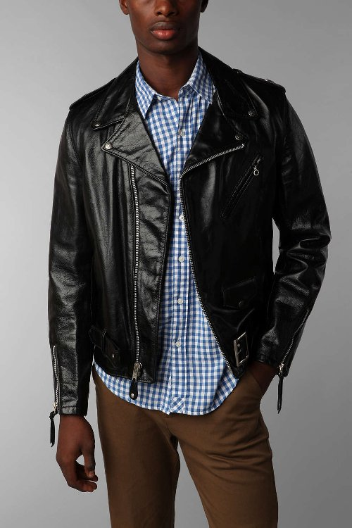 Schott Perfecto Leather Moto Jacket by Urban Outfitters in Unfinished Business