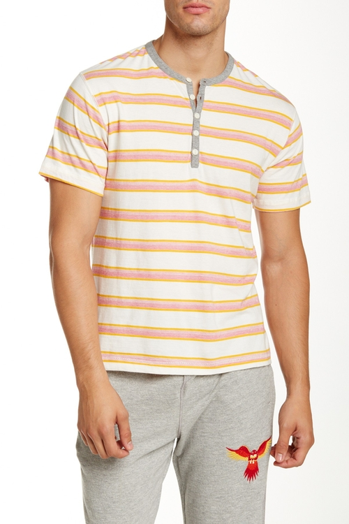 Striped Henley Shirt by Burkman Bros in Blow