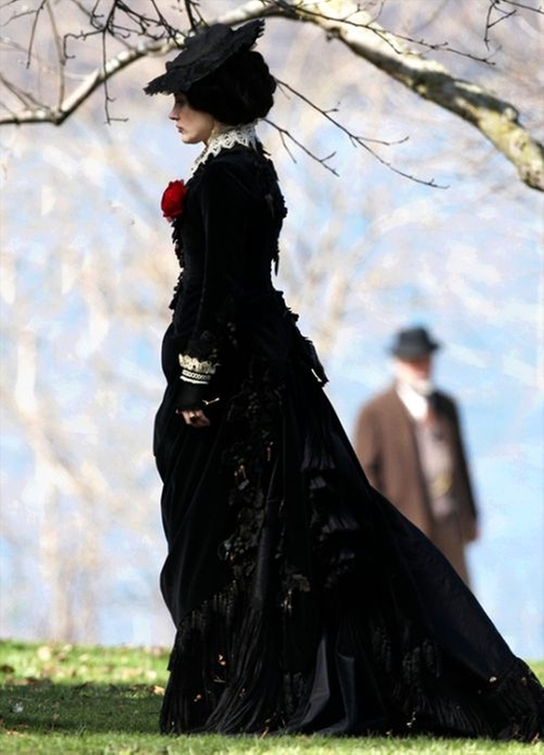 Custom Made Mourning Victorian Dress by Kate Hawley (Costume Designer) in Crimson Peak