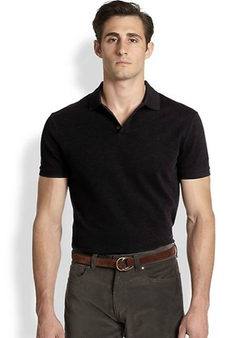 Solid Mesh Knit Polo Shirt by Ralph Lauren Black Label in Begin Again