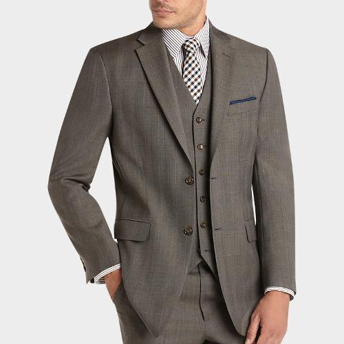 Taupe Plaid Vested Modern Fit Suit by Jones New York in Anchorman 2: The Legend Continues